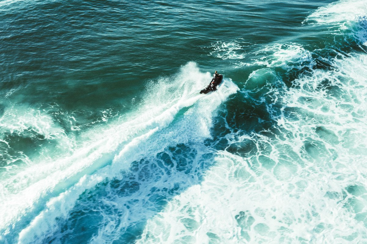 Jet ski at Nazaré - One of our pilots surfing the line up at Praia do Norte